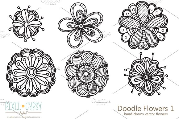 Doodle Flowers 1 Vector ~ Illustrations ~ Creative Market