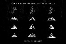 12 Hand Drawn Mountains Pack Vol.3