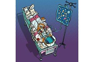 Star fever. Astronaut under medical