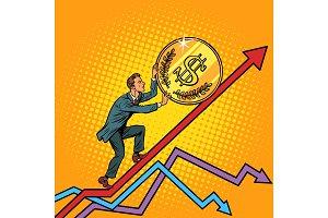 businessman roll a USA dollar coin