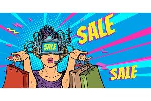 woman shopping on sale. virtual