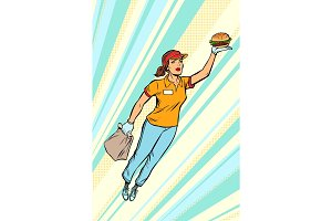 waitress Burger fast food delivery