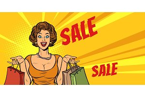 joyful woman shopping on sale