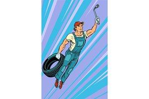 man mechanic tire. flying superhero