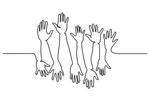 Abstract Hands Up Continuous one