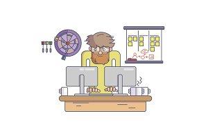 Software developer behind the desk