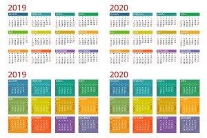 Template calendar 2019, 2020. Week