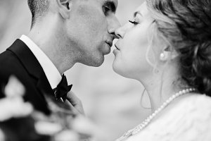 Close-up photo of romantic wedding c
