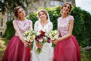 Happy bride and outgoing bridesmaids