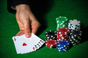 Flush in poker and betting chips