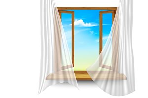Wooden window frame with curtains o
