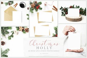 25 Holly Christmas mockups & photos