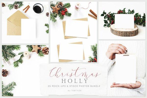 25 Holly Christmas mockups & photos