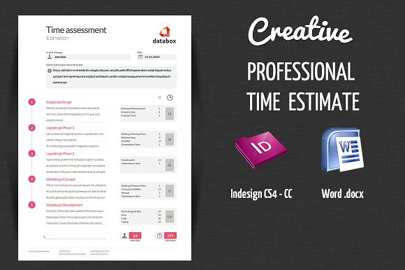 Professional Time Estimate Stationery Templates on Creative Market – Professional Estimate Template