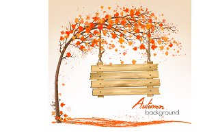 Autumn nature background with a tree
