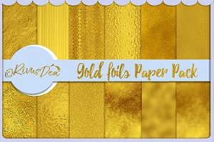 Gold foil digital paper kit