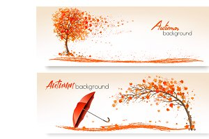 Two Autumn Banners With Trees