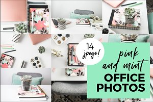 Pink and Mint Office Styled Stock