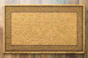 Blank Welcome Mat On Wood Floor