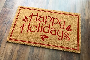 Happy Holidays Christmas Welcome Mat