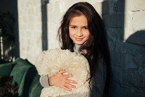 Close up portrait cute little girl