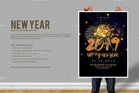 new year party flyer flyer templates creative market