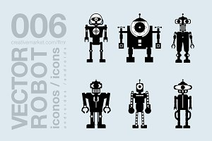 robots flat icons 010