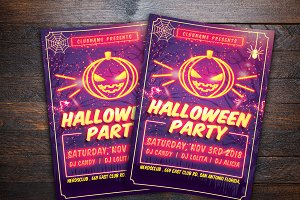 Neon Halloween Party Flyer