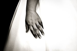 Wedding Day Hand on Black and White