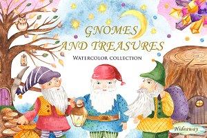 Gnomes and treasures. Watercolor.