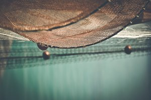Fishing net with cool blue space