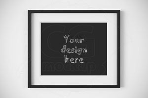 Horizontal black frame matted mockup