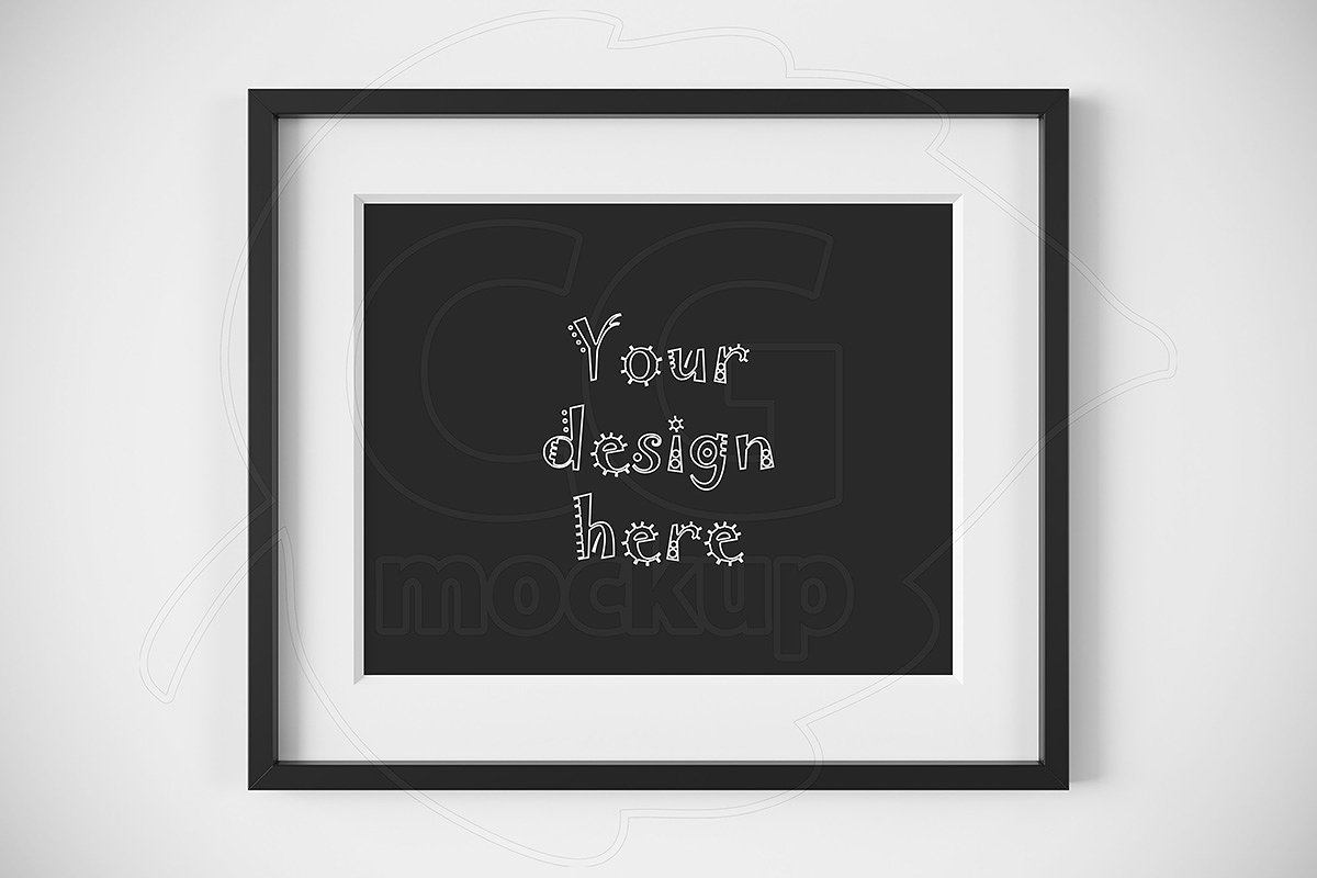 8ca501f114f7 Horizontal black frame matted mockup ~ Print Mockups ~ Creative Market