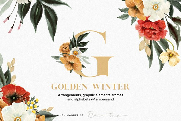 Golden Winter Floral Graphic Set