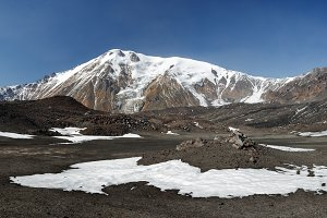 Panorama volcano landscape sunny day