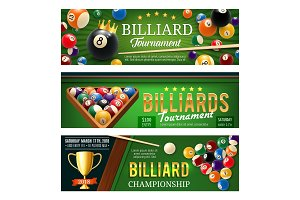 Billiards sport game, balls and cues