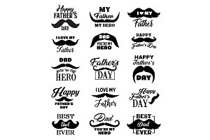 Father Day lettering quotes, vector