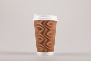 cardboard disposable coffee cup isol