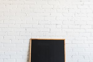 empty blackboard in wooden frame sta