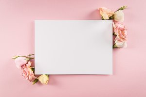 Top view of blank greeting card and