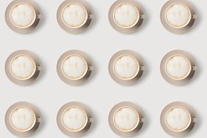 pattern of cups with latte