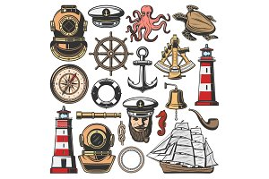 Marine nautical and seafarer icons