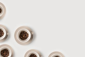 coffee beans in cups composition