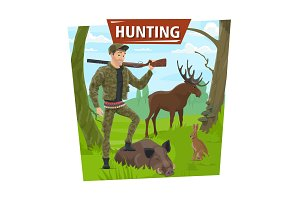 Hunter in forest with animals trophy