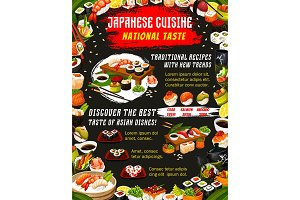 Japanese food cuisine and sushi