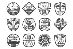 Car service, engine repair icons