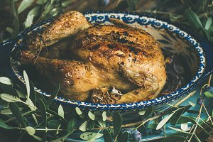 Whole roasted chicken with garlic