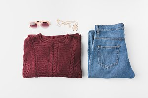 knitted sweater and trendy jeans