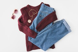 knitted sweater, trendy jeans and ac