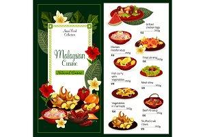 Malaysian cuisine dishes, vector